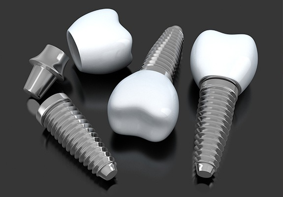 Three dental implant supported crowns